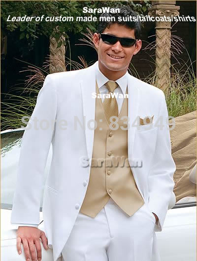 Custom Made White Tuxedo with Champagne Vest
