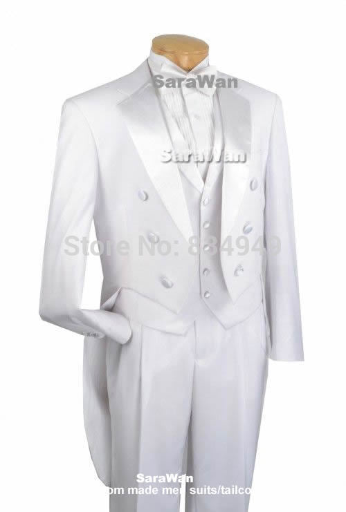 Custom Made Double-Breasted Full White Formal Tuxedo with Long Tailcoat