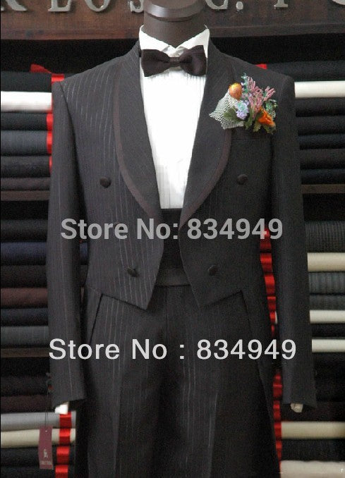 Custom Made Black Pinstripe Formal Tuxedo with Long Tailcoat
