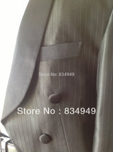 Load image into Gallery viewer, Custom Made Black Pinstripe Formal Tuxedo with Long Tailcoat
