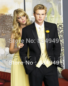 Custom Made 3-Piece Black Formal Tuxedo with Satin Notch Lapel and Yellow Vest