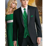 Custom-Made 5-Piece Formal Black Tuxedo with Satin Lapel and Green Vest