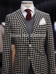 Custom Made 4-Piece Classilack White Checkered Tuxedo