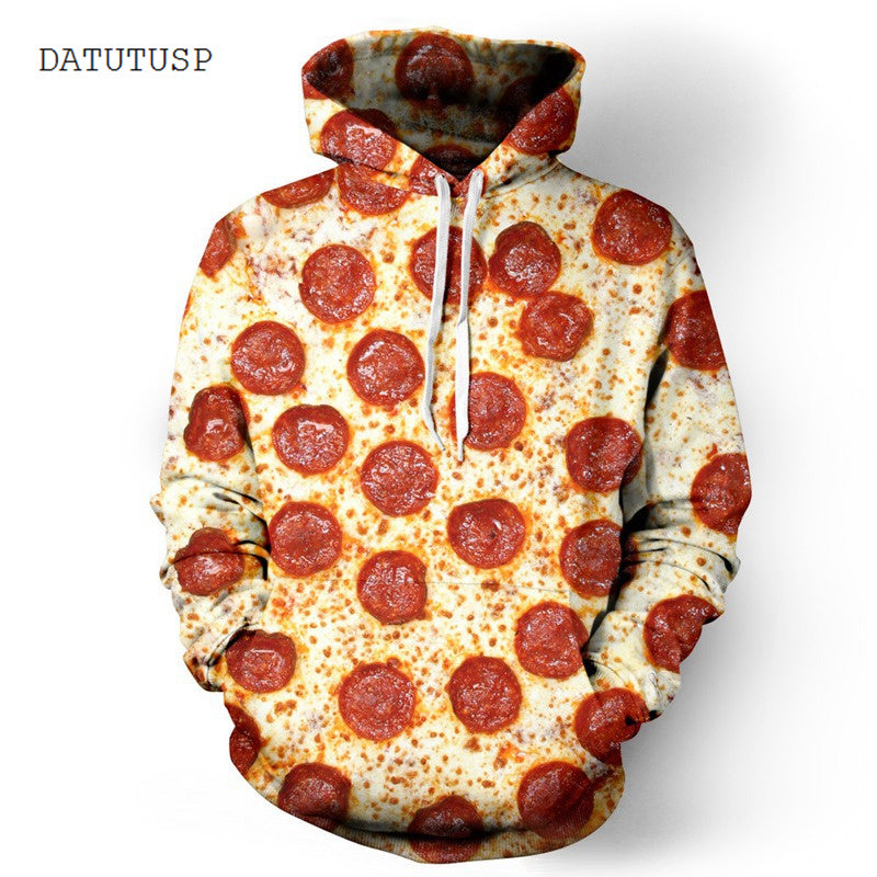Mens Hooded 3D Pizza Print Loose Pullover