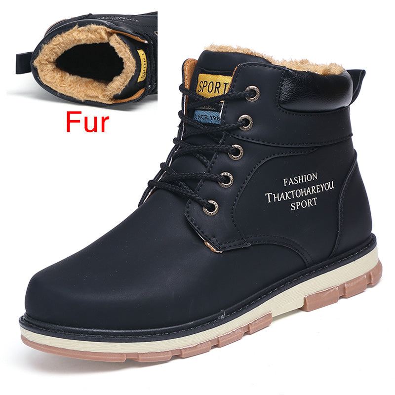 Mens High Quality Short Plush Leather Casual Boots
