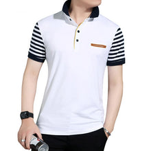 Load image into Gallery viewer, Mens Short Striped Sleeve Fake Pocket Polo