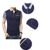 Mens Short Striped Sleeve Fake Pocket Polo