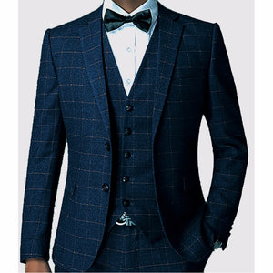 Dark Blue Checkered Tailor-Made Formal Gingham Tuxedo