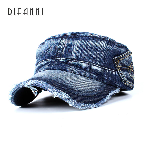 DIFANNI New Snapback Denim Flat Military Hat