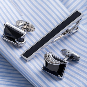 Square Pattern Freshwater Pearl Necktie Clip And Cufflink Set