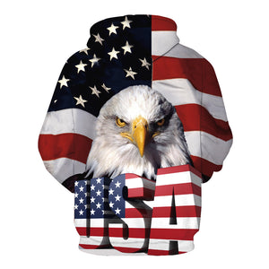 Mens Hooded Eagle American Flag 3D Print Pullover