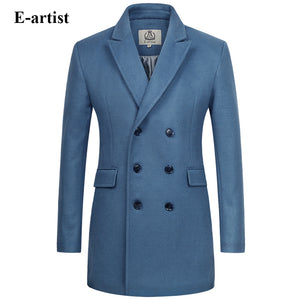 E-ARTIST Long Double-Breasted Wool Peacoat
