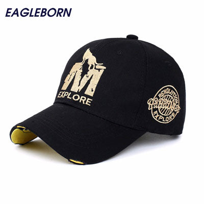 EAGLEBORN BRAND FITTED COTTON 6 PANEL BASEBALL CAP