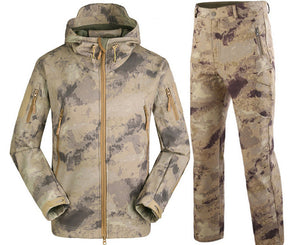 Waterproof Softshell Tactical Camouflage Hunting Jackets +Military Pants Suits