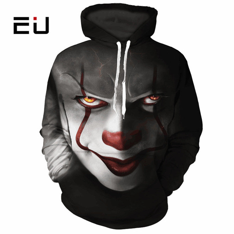 MENS 3D HOODED STEPHEN KING CLOWN (PENNYWISE) PRINT SWEATSHIRT