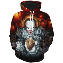 Load image into Gallery viewer, MENS 3D HOODED STEPHEN KING CLOWN (PENNYWISE) PRINT SWEATSHIRT