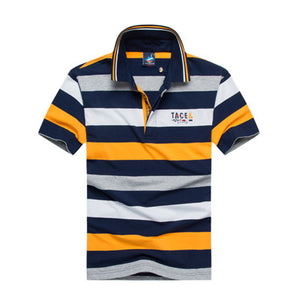 Men's Short Sleeve Striped Embroidered Polo Style Shirt