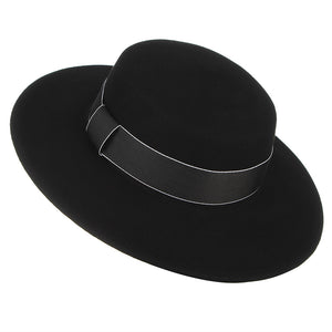 English Style Vintage Wide Brim Winter Fedora with Ribbon*