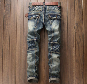 Mens European Style Patchwork Slim Straight Jeans