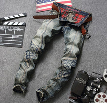 Load image into Gallery viewer, Mens European Style Patchwork Slim Straight Jeans
