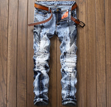 Load image into Gallery viewer, European Style Slim Straight Patchwork Jeans