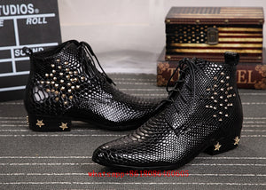 Mens European Style Studded Snakeskin Leather Ankle Boots