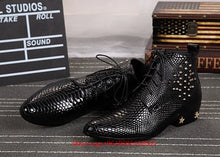 Load image into Gallery viewer, Mens European Style Studded Snakeskin Leather Ankle Boots