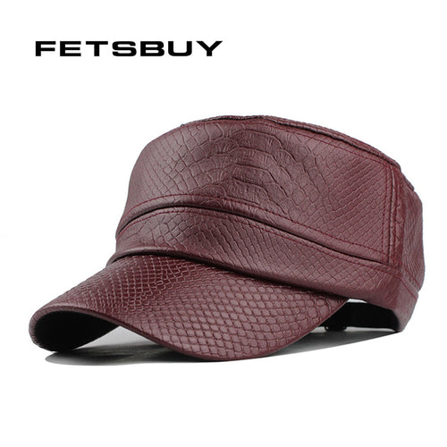 FETSBUY Vintage Leather Snake Pattern Military Hat