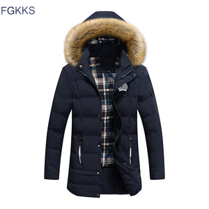 Thick High Collar Parka w/Detachable Hat