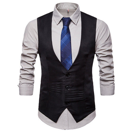 FGKKS Solid Color Slim Fit Formal or Business Waistcoat* (S-2XL)
