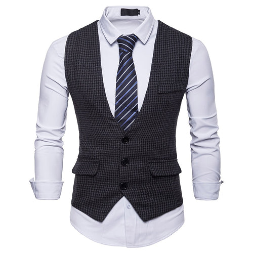 FGKKS Double-Breasted Houndstooth Formal or Business Suit Vest* (S-2XL)