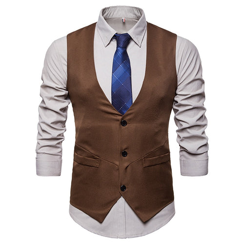 FGKKS Single-Breasted Sleeveless Business Waistcoat* (S-2XL)