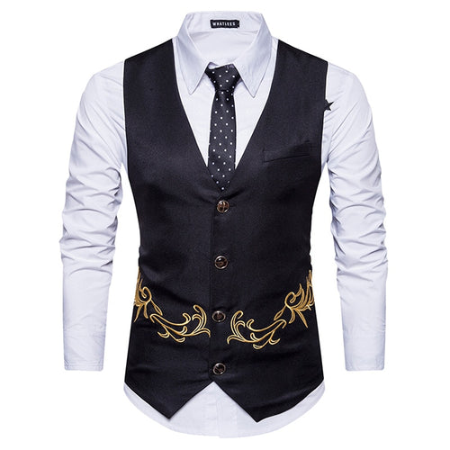 FGKKS Slim Fit Gold Embroidered Business Waistcoat* (S-2XL)