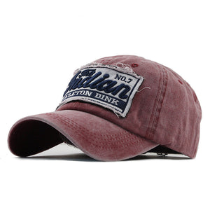 WASHED DENIM VINTAGE LETTER PRINT BASEBALL CAP
