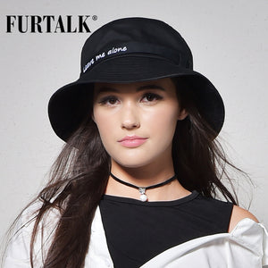 FURTALK Solid Pattern Cotton Letter Print Bucket Hat*