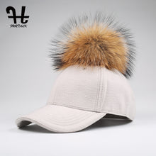 Load image into Gallery viewer, Womens Wool Adjustable Snapback Baseball Hat w/ Pom-Pom
