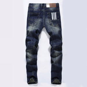 Mens Straight Dark Print Ripped Jeans