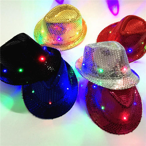 Sequined Adult and Child Light Up Led Party Fedoras