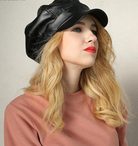 Leather Octagonal Retro Vintage Beret  Newsboy Cabbie cap