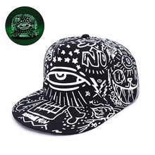 Load image into Gallery viewer, Mens Gow-In-The-Dark Graffiti Print Snapback Hat