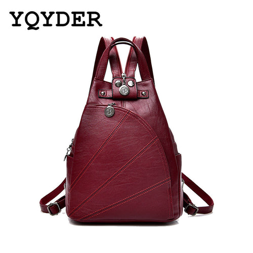 Womens Leisure PU Leather Travel Backpack