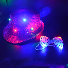 Load image into Gallery viewer, 10-Piece LED Flashing Sequin Bow-tie New Years Eve Party Set* (54cm-58cm)