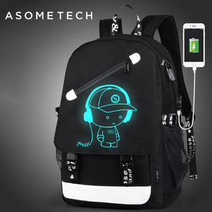 Luminous Print External USB Charging Backpack