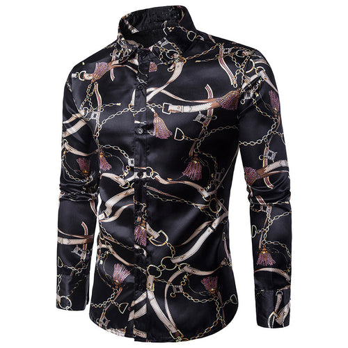 Mens Slim Single-Breasted Casual Flower Checked African Print Shirt