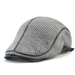 Mens Striped Patchwork Ivy Style Adjustable Driving Hat*