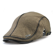 Load image into Gallery viewer, Mens Striped Patchwork Ivy Style Adjustable Driving Hat*