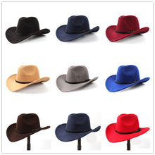 Load image into Gallery viewer, Wool Unisex Western Cowboy Hat W/Leather Cloche