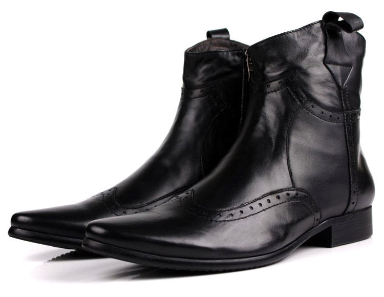 Mens Genuine Leather Pointed Toe Motorcycle boots