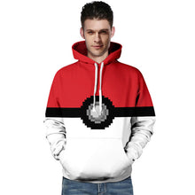 Load image into Gallery viewer, Men Hooded Pokemon Poke Ball 3D Print Hoodie