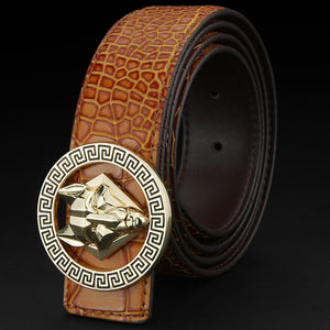 Mens Luxury Genuine Leather Cowhide Belt w/ Round Metal Wolf Pattern